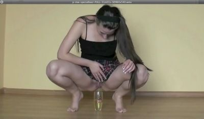 Toilet slave drinks mistresses fresh piss